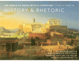 Lecture 4: Greek History and Rhetoric