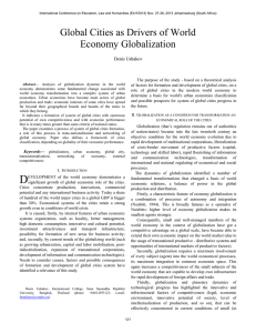 Global Cities as Drivers of World Economy Globalization