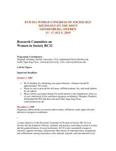 ISA-RC32 Call for papers for 2010 World Congress of Sociology in