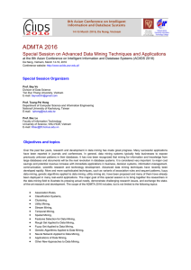 ADMTA 2016: Special Session on Advanced Data Mining