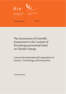 The Governance of Scientific Assessment in the Context of the