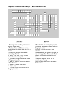 Physics/Science/Math Days Crossword Puzzle