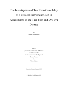 The Investigation of Tear Film Osmolality as a Clinical