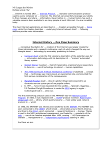 Internet History -- One Page Summary
