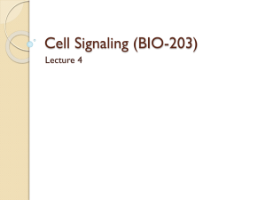 Cell Signaling (BIO-203) - Lectures For UG-5