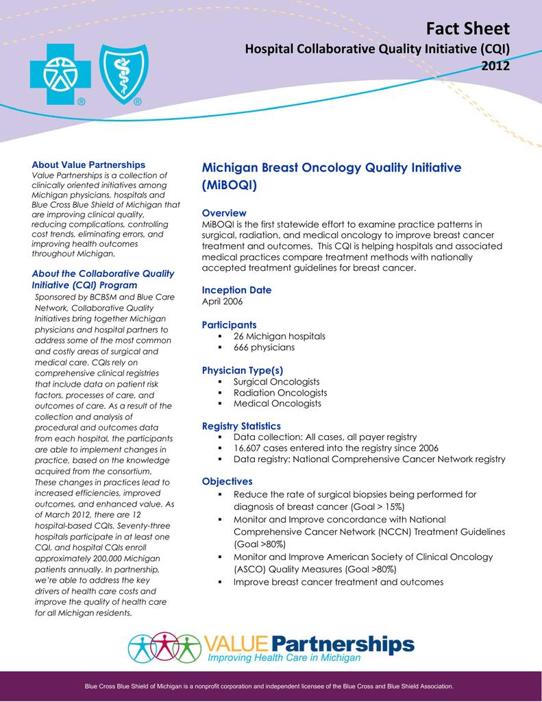 MiBOQI Fact Sheet - Blue Cross Blue Shield of Michigan