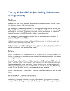 The top 10 Free IDE for Java Coding