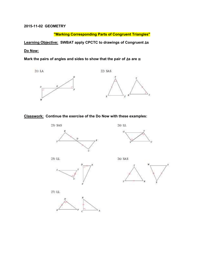 Marking Congruent Triangles