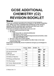 GCSE ADDITIONAL CHEMISTRY (C2) REVISION BOOKLET