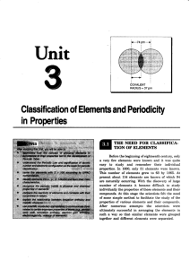 Classification and Periodic Properties of Elements