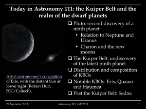 Today in Astronomy 111: the Kuiper Belt and the Oort Cloud
