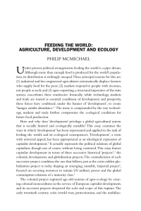 FEEDING THE WORLD: AGRICULTURE, DEVELOPMENT AND