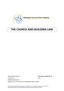 the church and building law - The Methodist Church of New Zealand