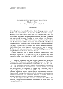 double case constructions in Koine Greek - Journal of Greco