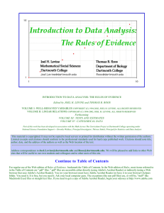 Introduction to Data Analysis: the Rules of Evidence