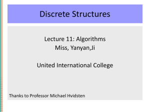 Lecture 11: Algorithms - United International College