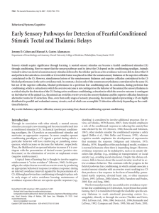 Early Sensory Pathways for Detection of Fearful Conditioned Stimuli