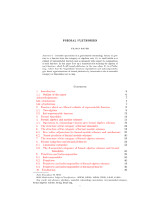 FORMAL PLETHORIES Contents 1. Introduction 3 1.1. Outline of the