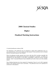 2008 Classical Studies Higher Finalised Marking Instructions