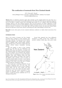The eradication of mammals from New Zealand islands
