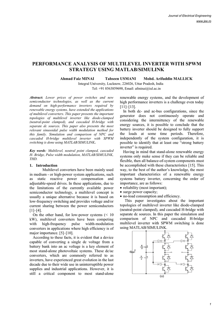 performance analysis of multilevel inverter with spwm strategy using