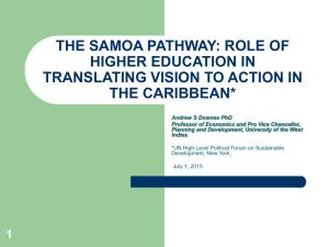 the samoa pathway: role of higher education in translating vision to