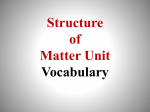 Structure of Matter Vocab Structure of Matter vocab