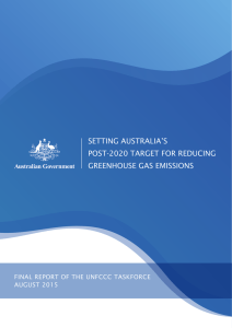 Setting Australia`s post-2020 target for reducing greenhouse gas