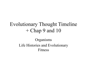 Organisms, Life History and Evolutionary Fitness