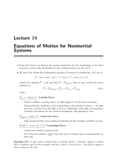 Lecture 19 Equations of Motion for Noninertial Systems