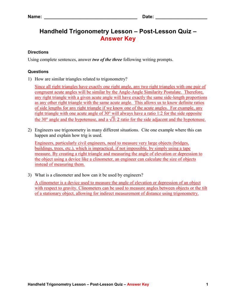 Post Lesson Quiz Answer Key