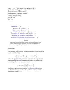 Logarithms and Exponentials - Florida Tech Department of