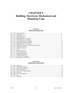 Chapter 5 - Building, Electrical, Mechanical