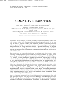 Cognitive robotics in JOURNAL OF EXPERIMENTAL