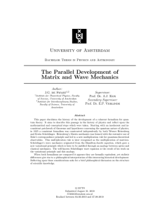 The Parallel Development of Matrix and Wave Mechanics