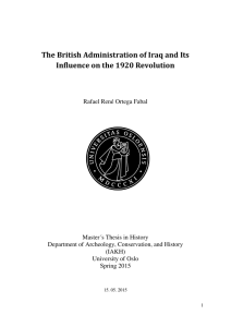 The British Administration of Iraq and Its Influence on - UiO