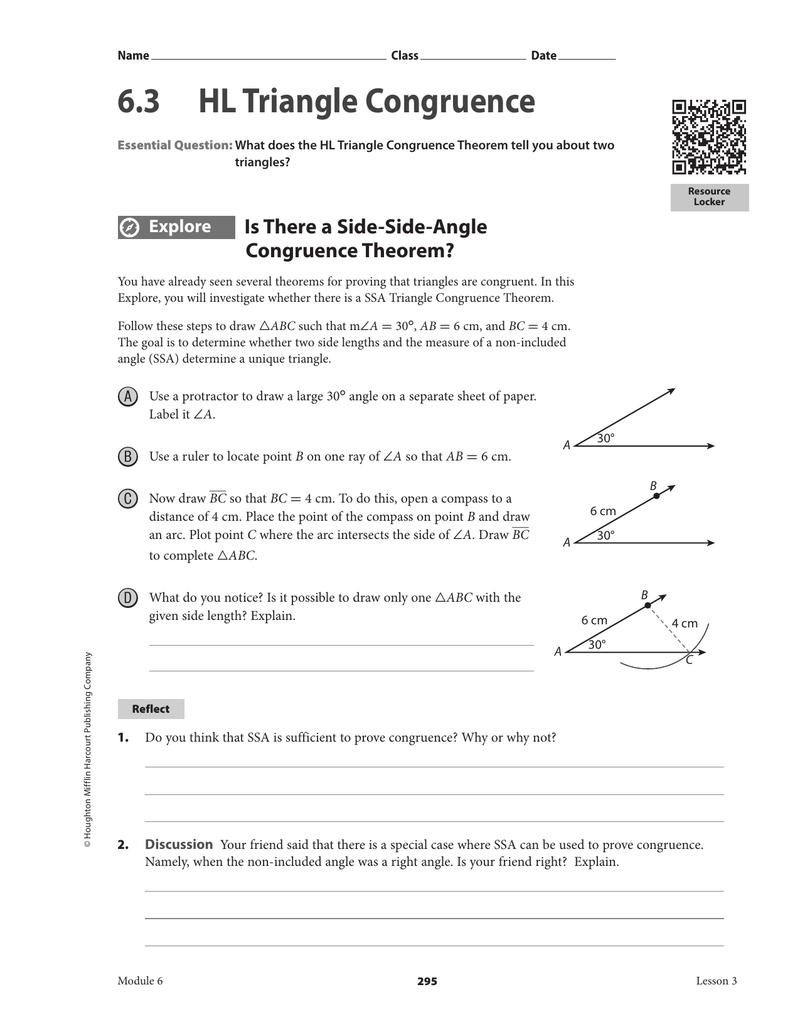 6 3 Hl Triangle Congruence