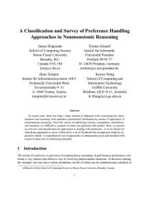 A Classification and Survey of Preference Handling Approaches in