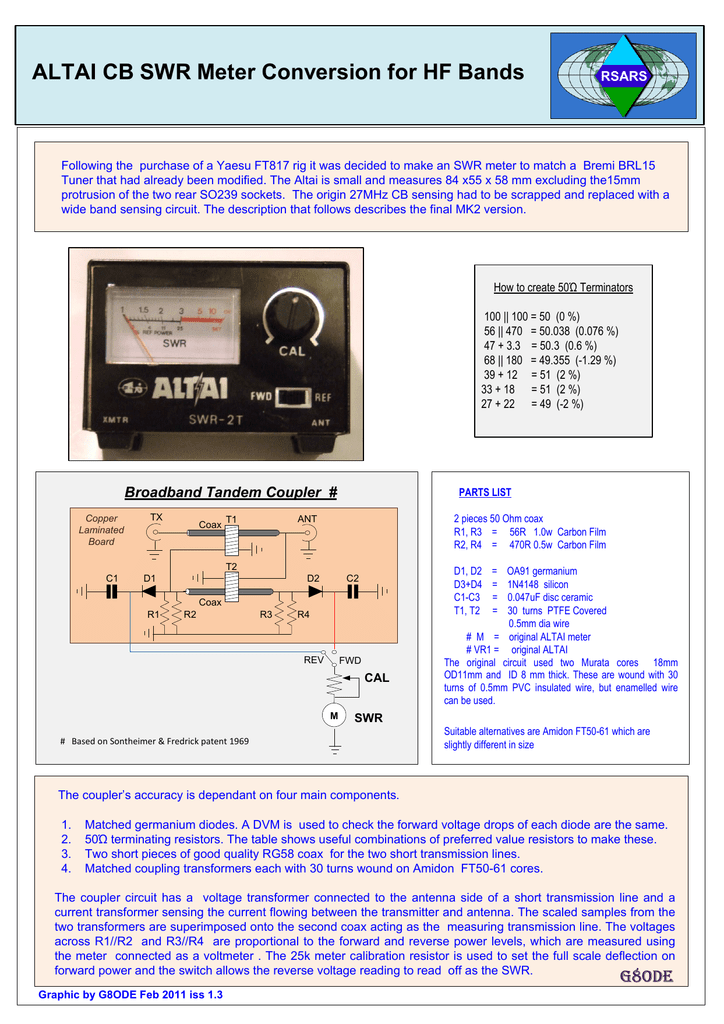 ALTAI CB SWR Meter Conversion for HF Bands