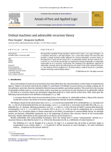 Annals of Pure and Applied Logic Ordinal machines and admissible