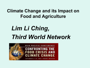 Climate Change and its Impacts on Food and Agriculture