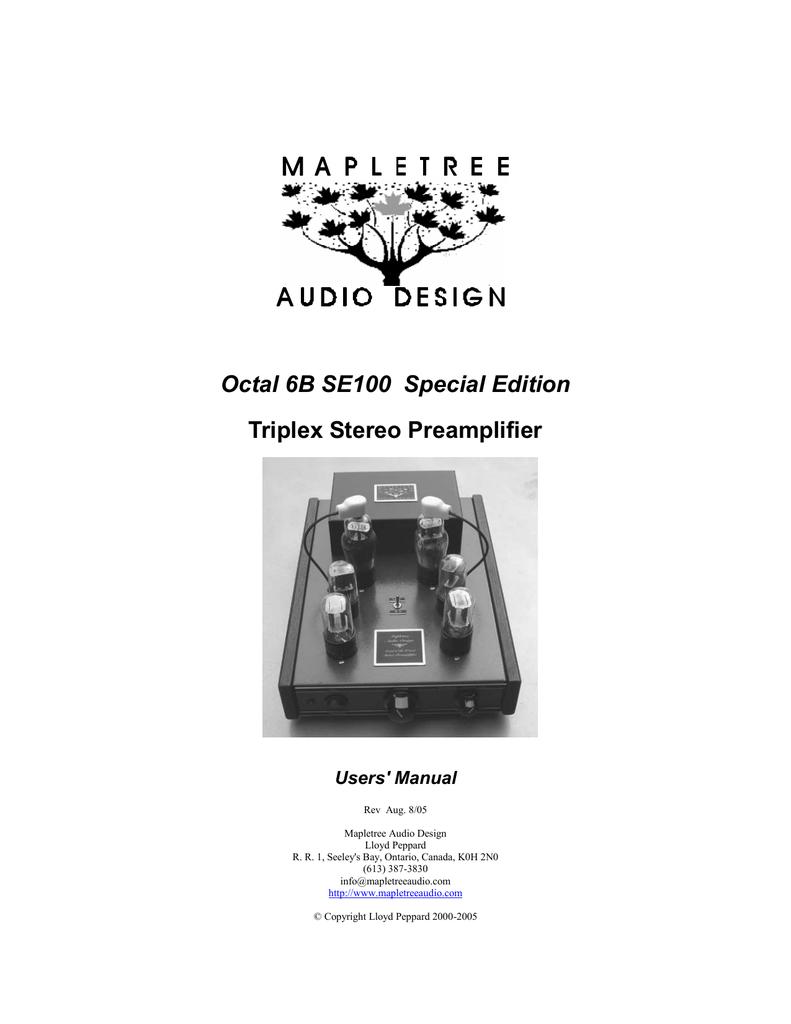 Users` Manual - Mapletree Audio Design