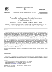 Personality and neuropsychological correlates of bullying behavior