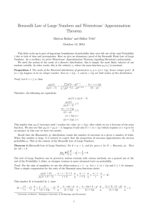 Bernoulli Law of Large Numbers and Weierstrass` Approximation