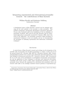Integrating experimental and observational personality research