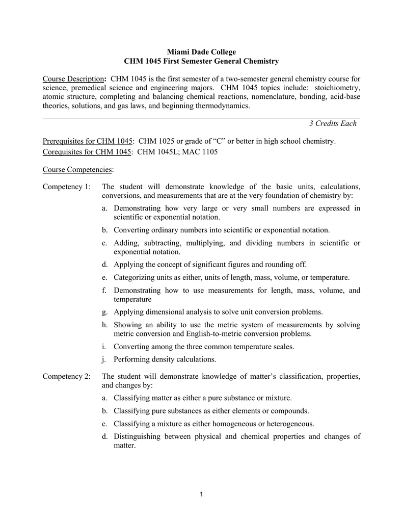 objectives chm 1025 - Miami Dade College