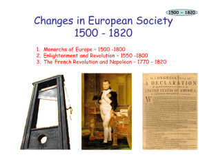 Changes in European Society 1500