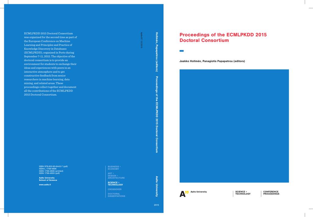 Proceedings of the ECMLPKDD 2015 Doctoral Consortium