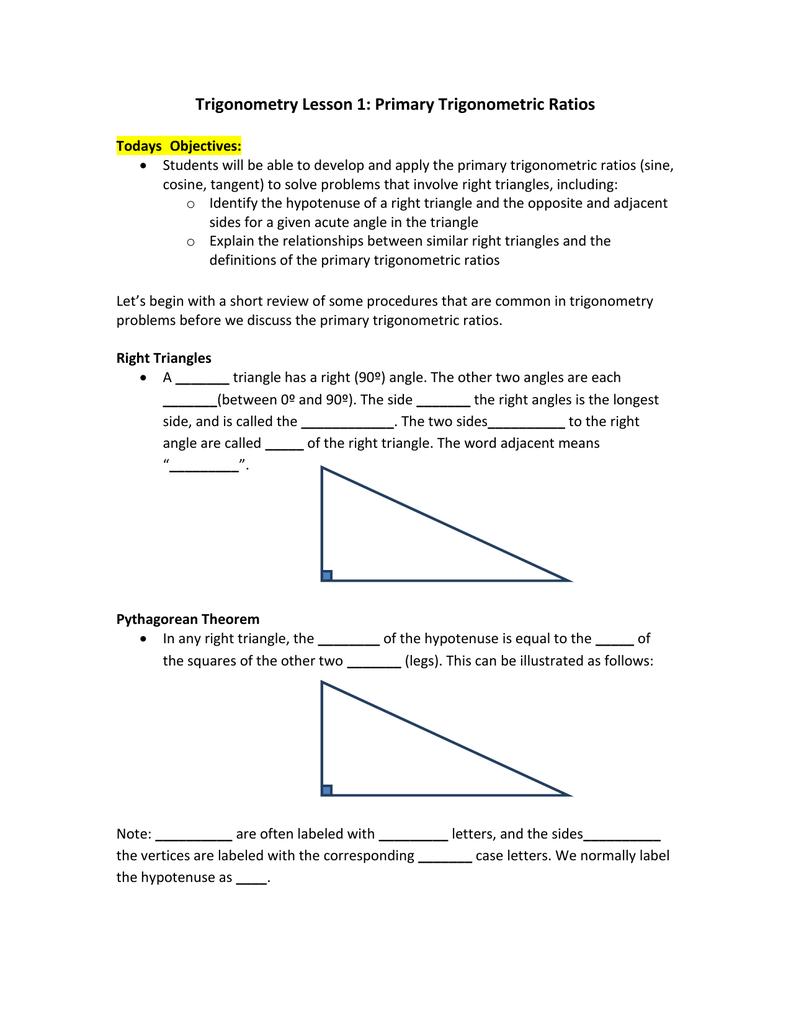 Trigonometry Lesson 1: Primary Trigonometric Ratios