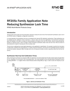 Reducing RF205x Synthesizer Lock Time